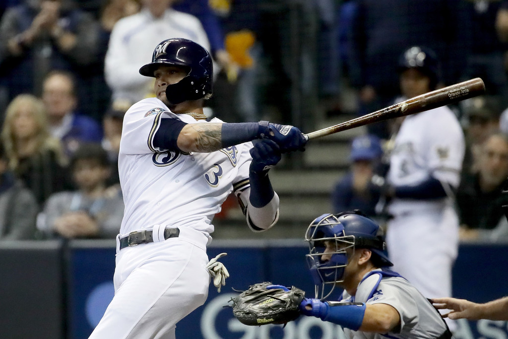 Orlando Arcia of the Milwaukee Brewers takes a swing at the plate